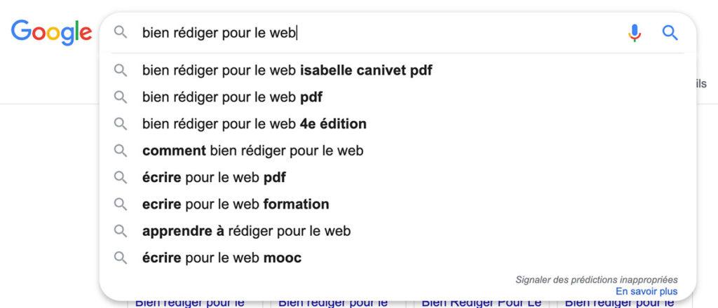 Suggestions de requêtes Google
