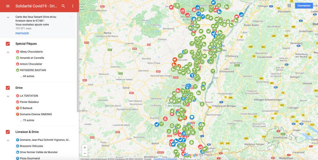 Carte des commerces ouverts en Alsace pendant la crise du Coronavirus