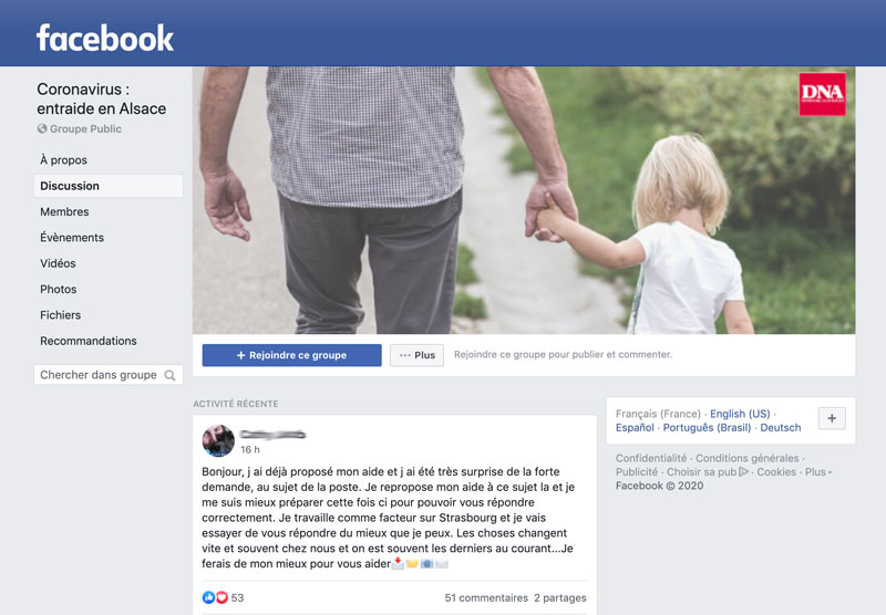 Groupe d'entraide Facebook des DNA face au Coronavirus