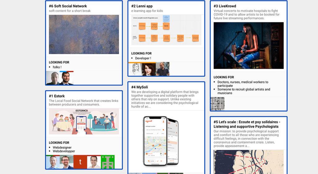 Présentation des projets sur la plateforme Sparkboard